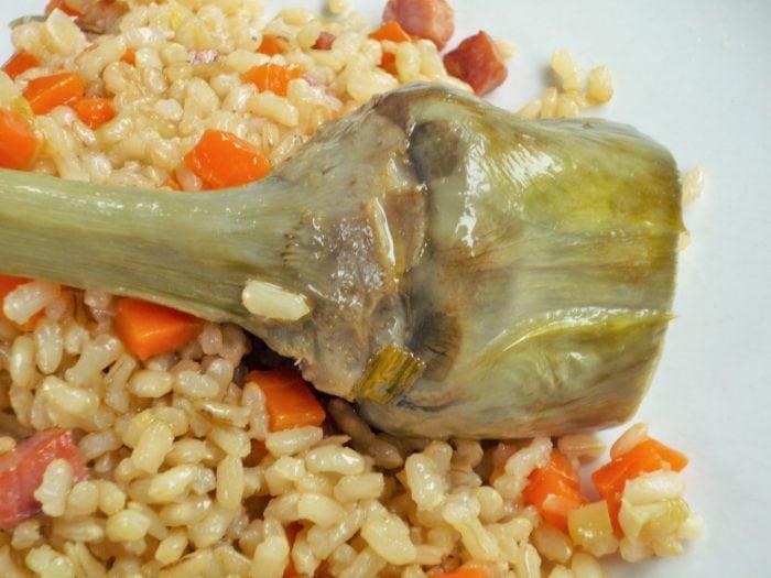 Arroz con alcachofas al aroma de azafr n en olla super r pida - Arroz con alcachofas y jamon ...