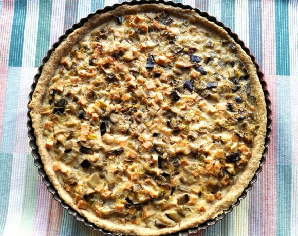 quiche con base de avena integral