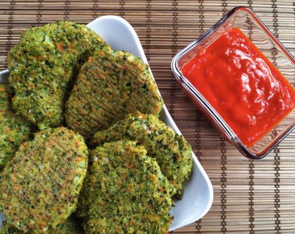 nuggets de brócoli y coliflor asados