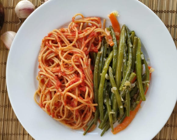 espaguetis con judias verdes