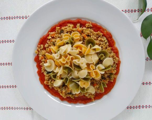 boloñesa de soja texturizada y pasta